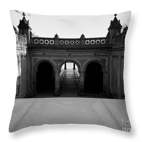 Central Park Throw Pillow featuring the photograph Bethesda Terrace In Central Park - Bw by James Aiken