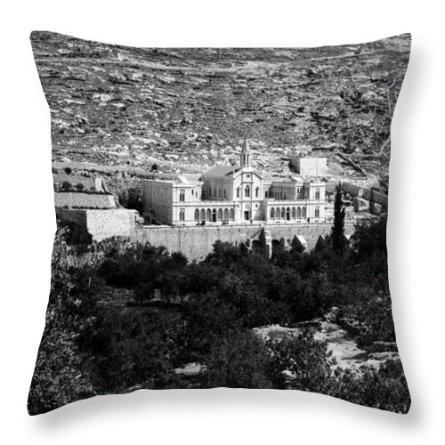 Bethlehem Throw Pillow featuring the photograph Bethlehem - Artas Convent Year 1900 To 1925 by Munir Alawi