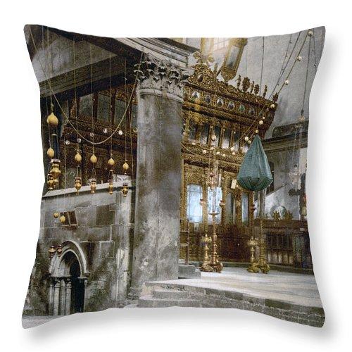 Nativity Throw Pillow featuring the photograph Bethlehem - Inside Nativity Church 1890 by Munir Alawi