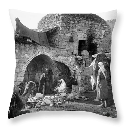 Nativity Throw Pillow featuring the photograph Bethlehem - Nativity Scene Year 1900 by Munir Alawi