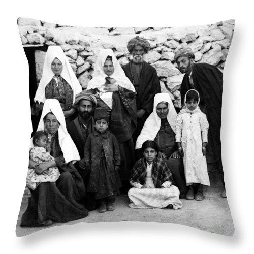 Bethlehem Throw Pillow featuring the photograph Bethlehem Family In 1900s by Munir Alawi
