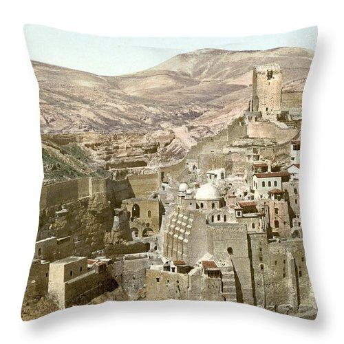 Bethlehem Throw Pillow featuring the photograph Bethlehem Mar Saba Monastery by Munir Alawi