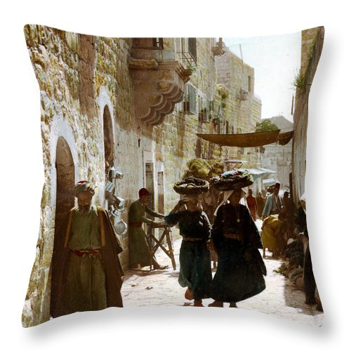 Bethlehem Throw Pillow featuring the photograph Bethlehem Merchant Street by Munir Alawi