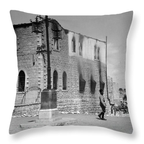 Bethlehem Throw Pillow featuring the photograph Bethlehem Police Barracks Burned Down On 1938 by Munir Alawi