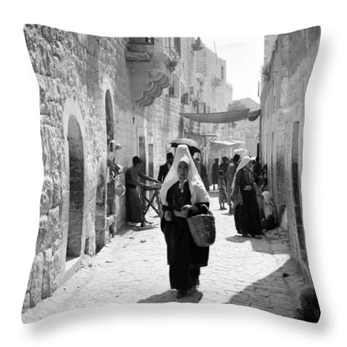 Bethlehem Throw Pillow featuring the photograph Bethlehemite Going To The Market by Munir Alawi