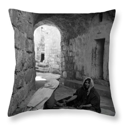 Bethlehem Throw Pillow featuring the photograph Bethlehemites Making Bread by Munir Alawi