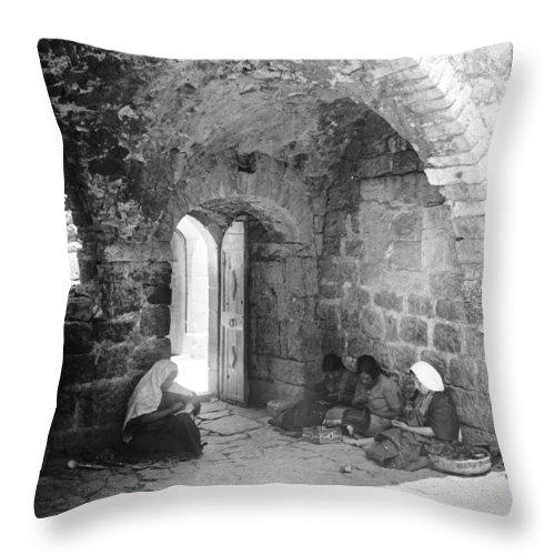 Bethlehem Throw Pillow featuring the photograph Bethlehemites Women Working Year 1925 by Munir Alawi