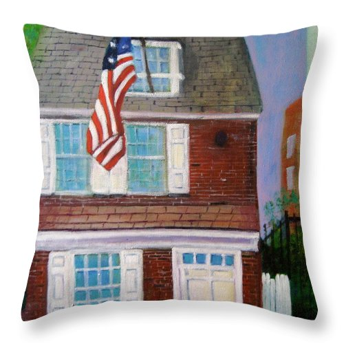 Betsy Ross Throw Pillow featuring the painting Betsy's House by Marita McVeigh