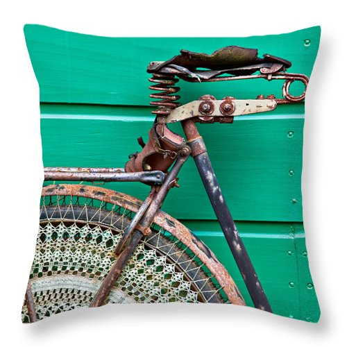 Bike Throw Pillow featuring the photograph Better Days by Dave Bowman