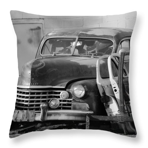 Classic Cadillac Throw Pillow featuring the photograph Better Days In Black And White by Colleen Cornelius
