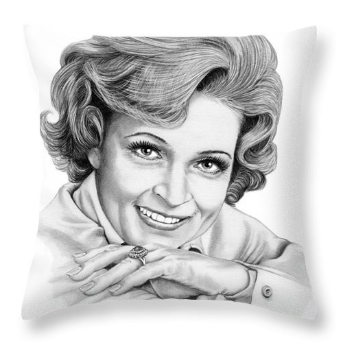 Drawing Throw Pillow featuring the drawing Betty White by Murphy Elliott