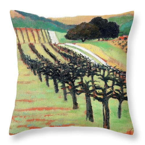Vineyard Throw Pillow featuring the painting Between Crops by Gary Coleman