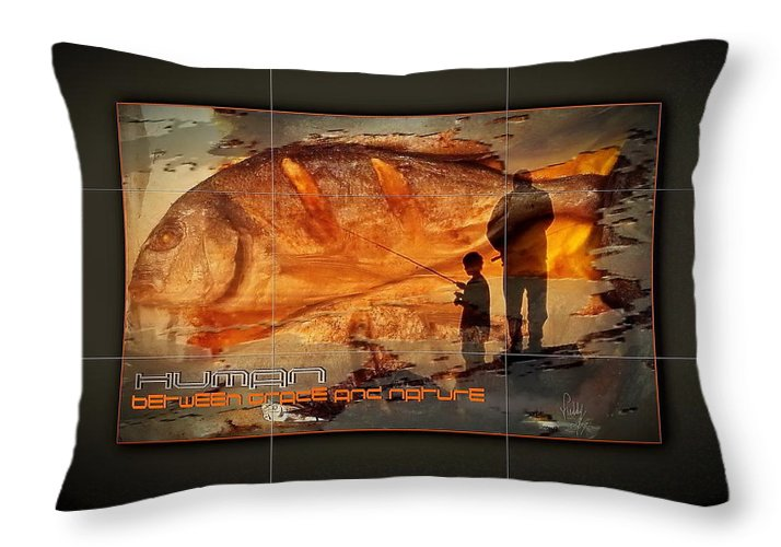 Light Throw Pillow featuring the mixed media Between Grace And Nature by Freddy Kirsheh