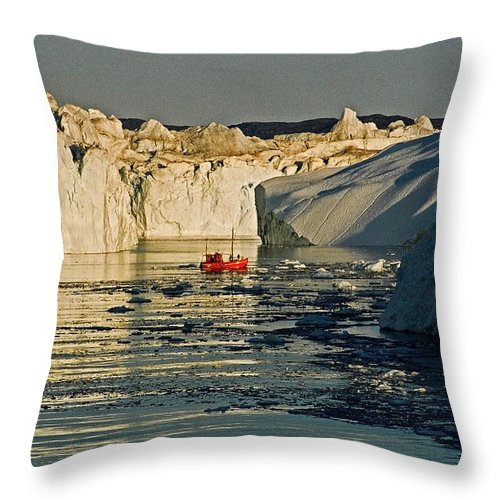 Greenland Throw Pillow featuring the photograph Between Icebergs - Greenland by Juergen Weiss