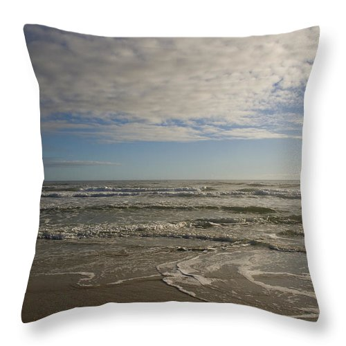 Wave Sand Ocean Beach Sky Water Wave Tide Sun Sunny Vacation Cloud Morning Early Throw Pillow featuring the photograph Between Night And Day by Andrei Shliakhau