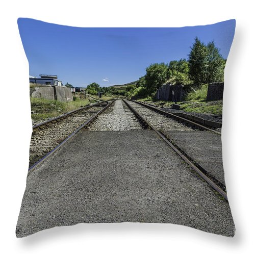 Pontypool And Blaenavon Railway. Pontypool. Blaenavon Throw Pillow featuring the photograph Between The Lines by Steve Purnell