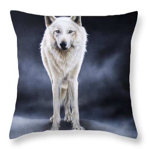 Arctic Throw Pillow featuring the painting 'between The White And The Black' by Sandi Baker