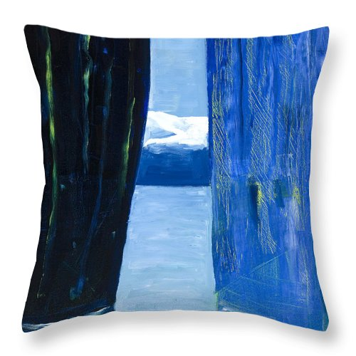 Landscape Throw Pillow featuring the painting Between Two Mountains. by Jarle Rosseland
