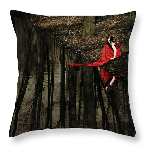 Female Throw Pillow featuring the photograph Between Worlds by Cambion Art