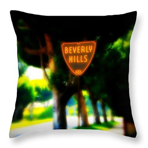 Beverly Hills Throw Pillow featuring the photograph Beverly Hills Sign by Perry Webster