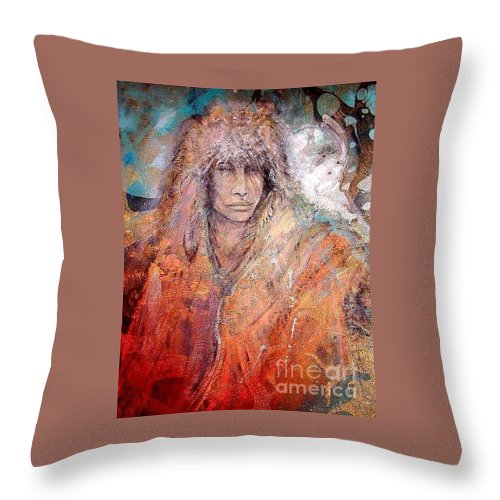 Indian Throw Pillow featuring the painting Bewildered by Barbara Lemley