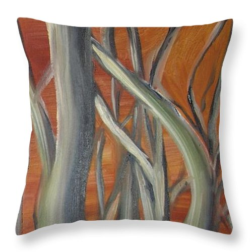 Trees Forest Original Painting Abstract Throw Pillow featuring the painting Beyond by Leila Atkinson