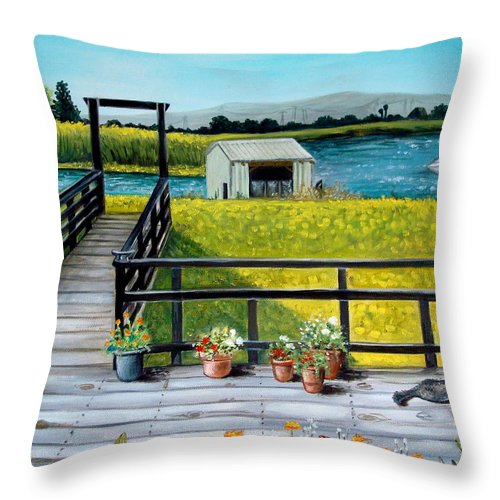 Landscape Throw Pillow featuring the painting Beyond The Levee by Elizabeth Robinette Tyndall