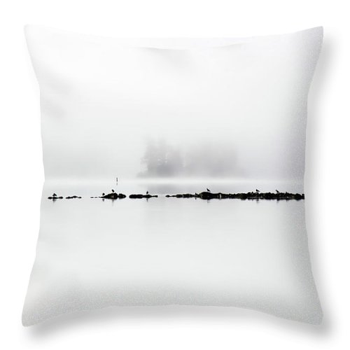 Fog Throw Pillow featuring the photograph Beyond The Rocks by Cathy Beharriell