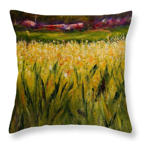 Landscape Throw Pillow featuring the painting Beyond The Valley by Shannon Grissom