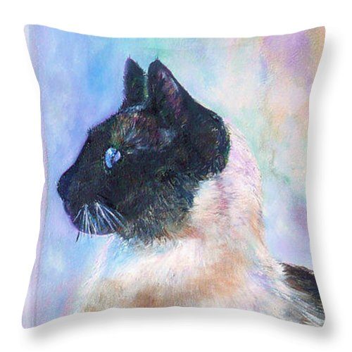 Cat Throw Pillow featuring the painting Beyond The Window Pane by Laura Leigh McCall