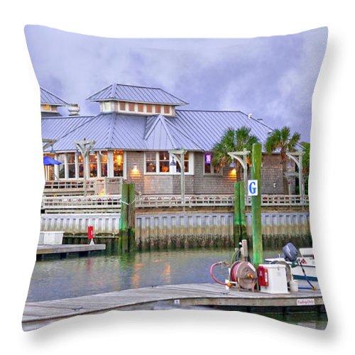 Bald Throw Pillow featuring the photograph Bhi Marina Purple Hue Evening by Betsy Knapp