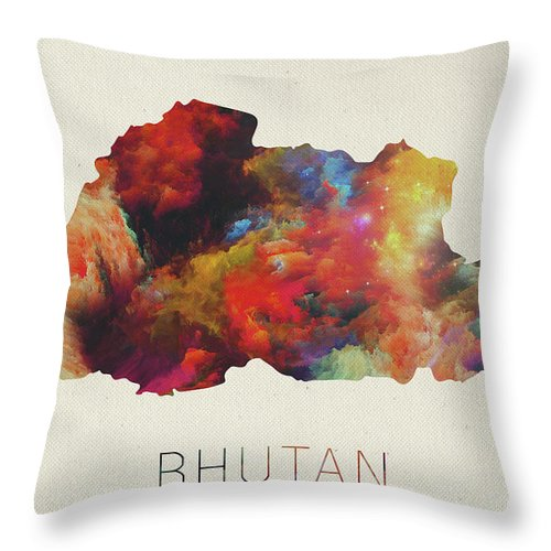 Bhutan Throw Pillow featuring the mixed media Bhutan Watercolor Map by Design Turnpike