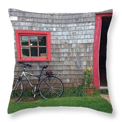 Bicycle Throw Pillow featuring the photograph Bicycle At Barn by Steve Somerville
