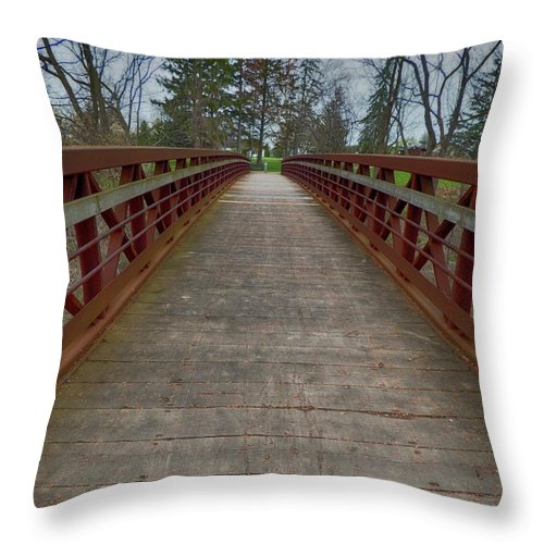 Niagara Throw Pillow featuring the photograph Bicycle Bridge - Niagara On The Lake by Leslie Montgomery