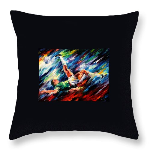 Afremov Throw Pillow featuring the painting Bicycle Kick by Leonid Afremov