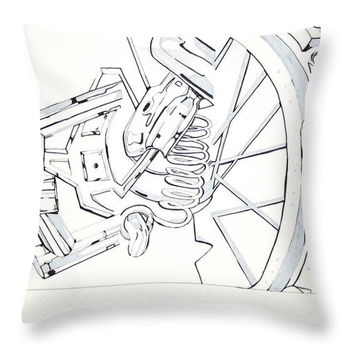 Bicycle Throw Pillow featuring the drawing Bicycle by Maryn Crawford