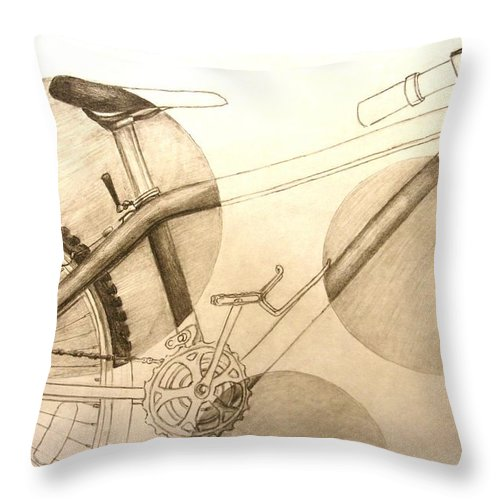 Bicycle Throw Pillow featuring the drawing Bicycle by Melissa Wiater Chaney