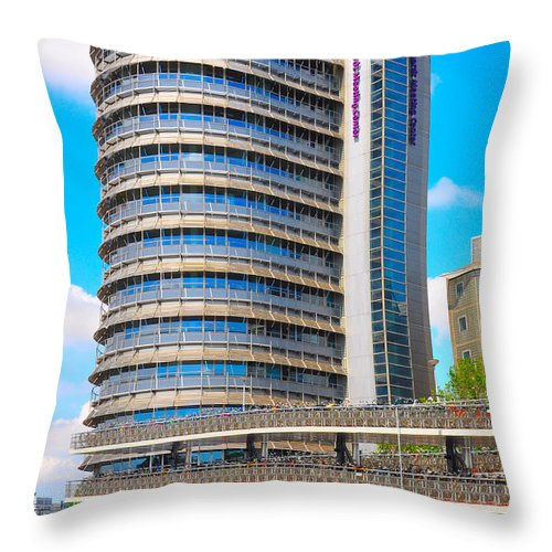 Architecture Throw Pillow featuring the photograph Bicycle Parking Garage - Full View by Noah Cole