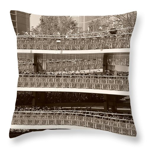 Architecture Throw Pillow featuring the photograph Bicycle Parking Garage by Noah Cole