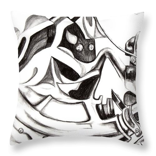 Bicycle Throw Pillow featuring the drawing Bicycle With Cloth by Maryn Crawford
