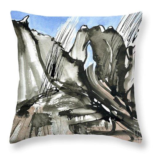 Bidein Snowstorm - Bidein Druim Nan Ramh - Cuillin Ridge Skye - Mountain Ridge Painting - Isle Of Skye - Scotland - Elizabethafox Throw Pillow featuring the painting Bidein Snowstorm by Elizabetha Fox