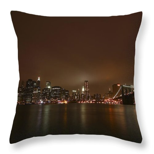 Bridge Throw Pillow featuring the photograph Big Apple Lights by Evelina Kremsdorf