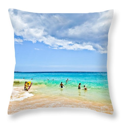 Landscape Throw Pillow featuring the photograph Big Beach by MaxD Photography