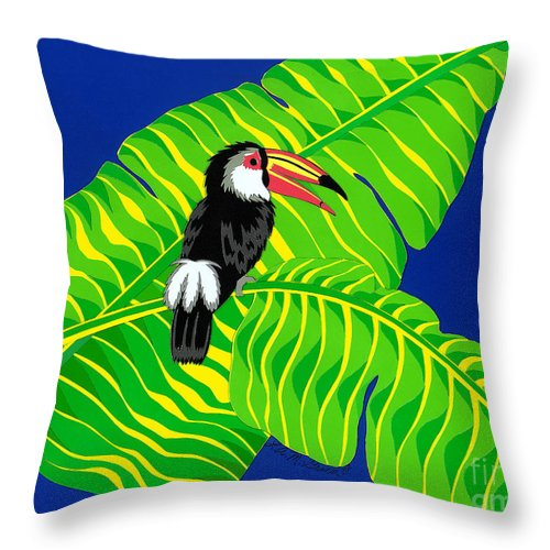 Nature Throw Pillow featuring the drawing Big Billed Bird by Lucyna A M Green
