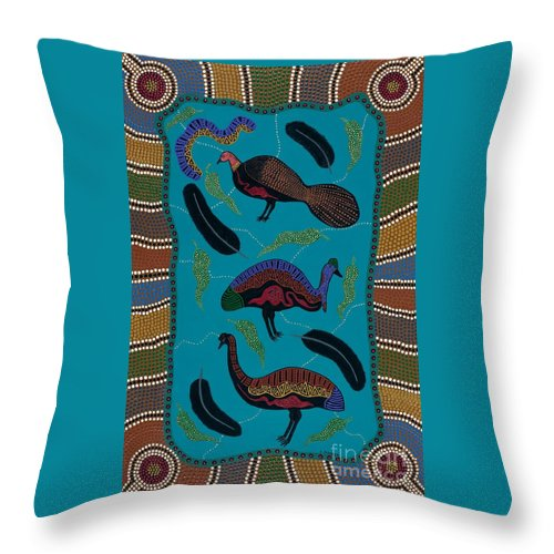 Acrylic Throw Pillow featuring the painting Big Birds Of Australia by Clifford Madsen