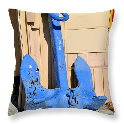 Fine Art Photography Throw Pillow featuring the photograph Big Blue Anchor by David Lee Thompson