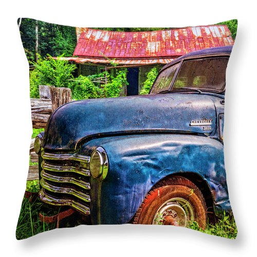 1940s Throw Pillow featuring the photograph Big Blue Chevy At The Farm by Debra and Dave Vanderlaan