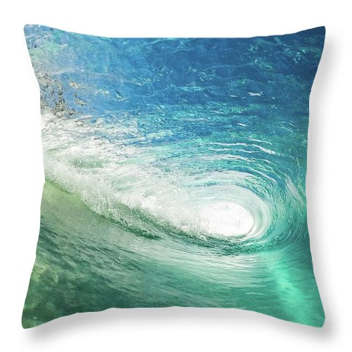 Waves Throw Pillow featuring the photograph Big Blue Eye by Sebastian Musial