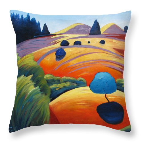 Intense Color Throw Pillow featuring the painting Big Blue Tree by Gary Coleman