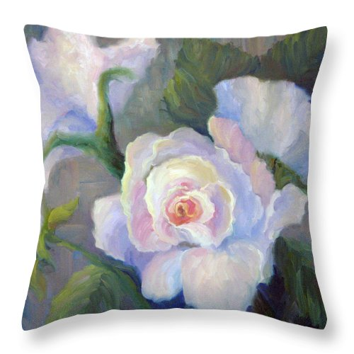 Flower Throw Pillow featuring the painting Big Blushing Rose by Bunny Oliver